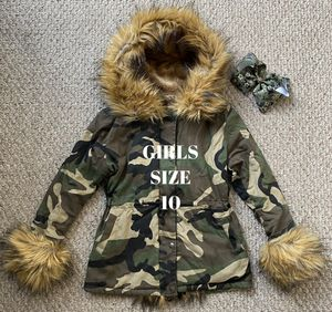 GIRLS SIZE 10 Army Print Faux Fur Lined Jacket + JOJO SIWA Army Hair BOW 🧸 for Sale in Danville, CA