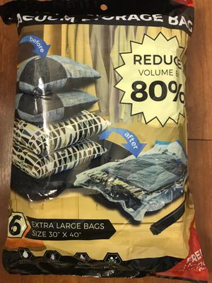 Brand new Vacuum Bags (6 Pack) with Vacuum Storage Bags - Extra Large (Pick up only) for Sale in Alexandria, VA