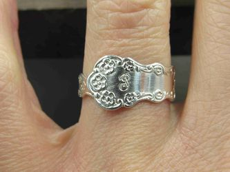 Size 7.5 Sterling Silver Vernon Floral Spoon Band Ring Vintage Statement Engagement Wedding Promise Anniversary Bridal Cocktail for Sale in Everett,  WA