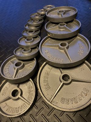 FULL OLYMPIC DEEP DISH GRIP WEIGHT SET for Sale in Wesley Chapel, FL