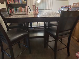 6 seat pub height wood dining room table for Sale in Lancaster, CA