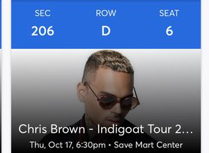 2 Chris brown tickets! for Sale in Fresno, CA