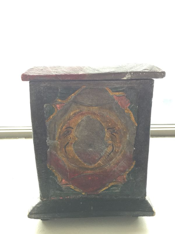 Handmade brown and black wooden handicraft box W11in x D6.5in x H8in