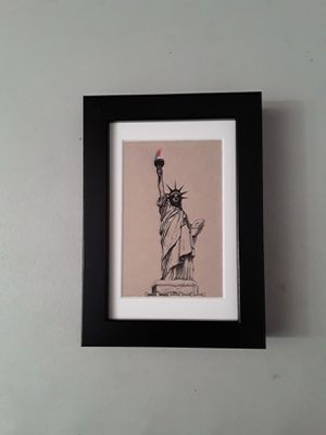 Pen and Ink Drawing - The Statue of Liberty National Monument, Manhattan, New York, United States of America. for Sale in HUNTINGTN BCH, CA