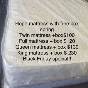 Hope Mattress With Free Box Spring for Sale in Fort Washington, MD