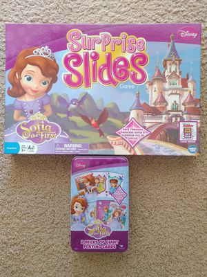 "😀 Disney Princess ""Sofia the First"" Surprise Slides Board Game and Giant Playing Cards. Frozen 😀 for Sale in Virginia Beach, VA"
