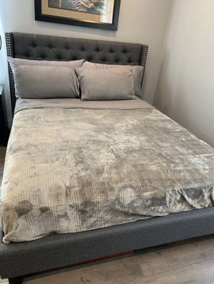 Brand New Full Size Blue Grey Upholstered Platform Bed Frame ONLY for Sale in Silver Spring, MD