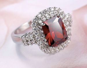 Lady's 925 Sterling Silver Red Diamond Ruby Gemstone Ring size 9 for Sale in Moreno Valley, CA