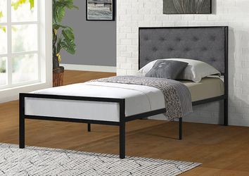 NEW, TWIN Size Metal Platform Bed (Fully Slated NO BOX SPRING REQUIRED) with Linen Fabric Headboard , SKU# 7577T for Sale in Huntington Beach,  CA
