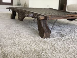 Indian Rustic Antique Wooden Ox Cart with Metal Accents Made into a Coffee Table(PRICE NEGOTIABLE) for Sale in Davie, FL