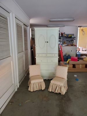 Little girl's armoire and chairs, sold together or separately. for Sale in Potomac, MD