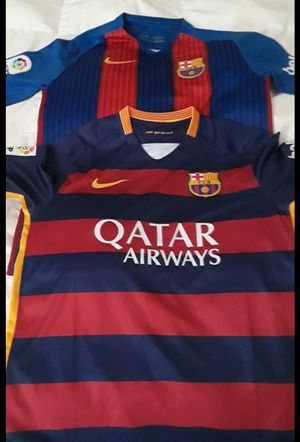 3 BARCELONA SMALL SOCCER JERSEYS / JERSEY BUNDLE SIZE SMALL for Sale in Miami, FL