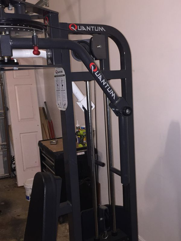 Lat pull down, mid row and chest, shoulder gym workout machine