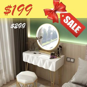 Glossy White Vanity Set (Stool + Multi-Function Mirror + Dressing Table) for Sale in Los Angeles, CA