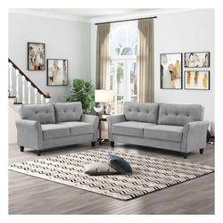 Brand New Tufted Sofa And Love Seat 2pcs in Light Gray for Sale in Monterey Park,  CA
