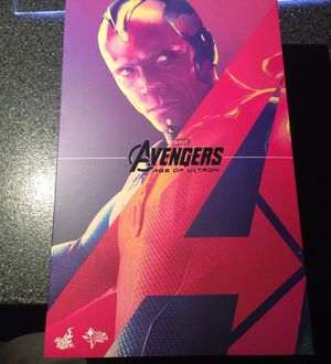 Vision 12 inch action figure Hot Toys! MMS 296 Avengers Age of Ultron AOU 1/6 scale figure with thor Mjolnir hammer Movie Masterpiece for Sale, used for sale  Queens, NY