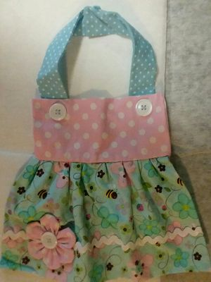 New Handmade Pink Blue Bee Flower Apron Dress Girl Baby Bib for Sale in Affton, MO