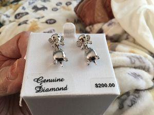 Sterling silver/w/genuine diamond earrings for Sale in Creve Coeur, MO