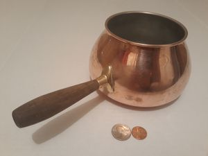 """Vintage Metal Copper, Brass and Wood Pot, 10"""" Long and 6"""" x 3 1/2"""" Pot Size, Made in Portugal, Kitchen Decor, Shelf Display for Sale in Lakeside, CA"""
