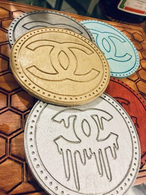 Designer Bar Living Room Coasters - Gucci Versace Chanel Givenchy Louis Vuitton LV Hermès - Clothes Shoe Birthday Gift for Sale in Queens, NY
