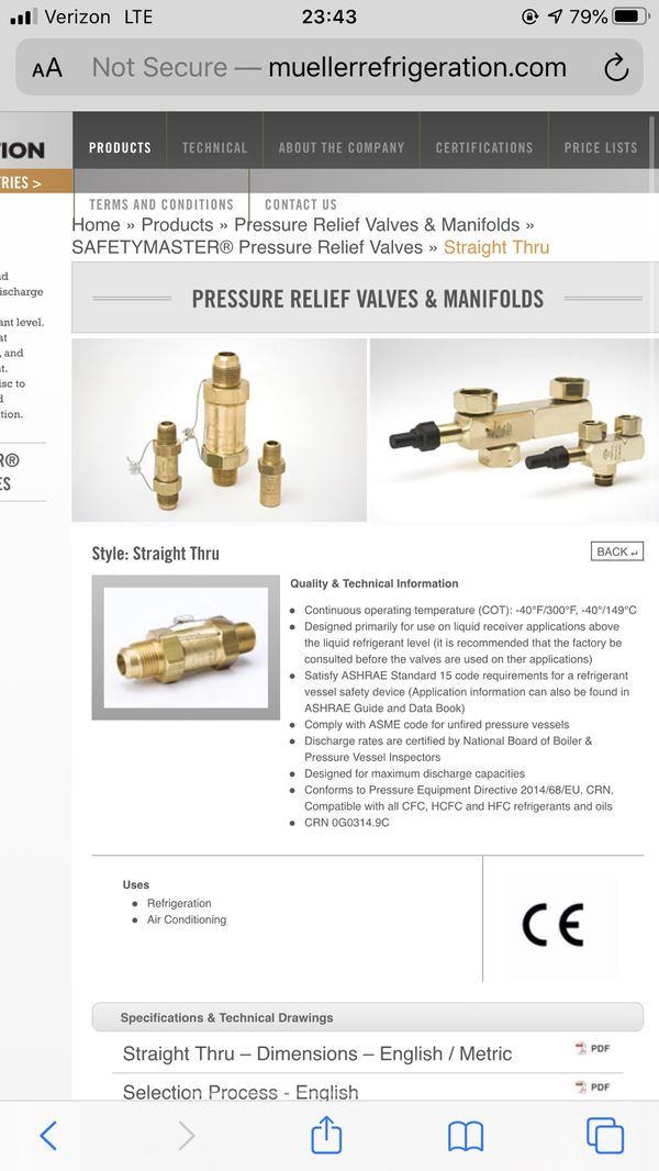 Mueller Refrigeration ( Safety Master Relief Valve)