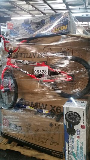 Pallet with hoverboard, bikes, 3 wheeled bike, nerf gun item and more for Sale in Concord, NC