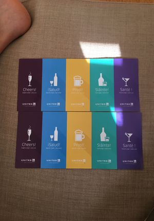 United Airlines - 10 alcoholic drinks vouchers for Sale in Washington, DC