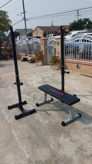 Flat workout bench with portable squat/ bench press Brand new for Sale in Montebello, CA