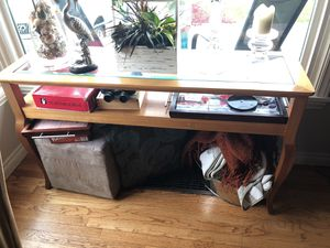STANLEY Wood & glass console table for Sale in Seattle, WA