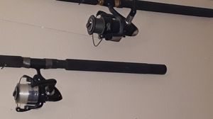 Top pole is a Jarvis Walker 11 ft rod bottom is ugly stick 8tf rod for Sale in Indianapolis, IN