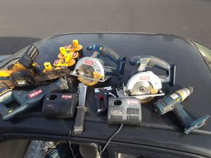 Cordless saw set: Ryobi chainsaw/2 table saw/sawzaw/6 batterie packs/2 chargers for Sale in Modesto, CA