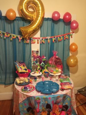 Trolls table cover and birthday banner and trolls shower curtain for Sale in ROXBURY CROSSING, MA
