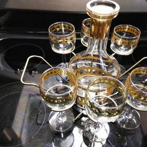 14 Karat Gold Decanter & 6 Gobblets Set With Rack for Sale in Winter Haven, FL