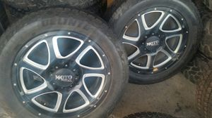 """Wheels and tires lt 265/60r20"""" 8 lug Silverado gmc in utility truck 8x180,mm 2012 to 2019 for Sale in Riverside, CA"""