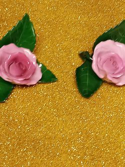 1960s Herend Pink Rose On Leaf A Pair Of Them for Sale in Houston,  TX