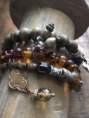 Set of three handcrafted stretch boho bracelets for Sale in Evesham Township, NJ