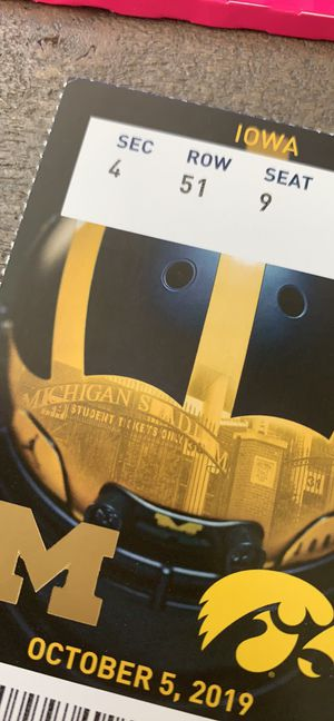2 seats together for the Iowa v Michigan game 10/5 for Sale in Saline, MI