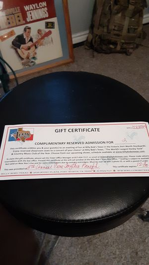 Billy Bob's Texas Gift Certificate for Sale in Saginaw, TX