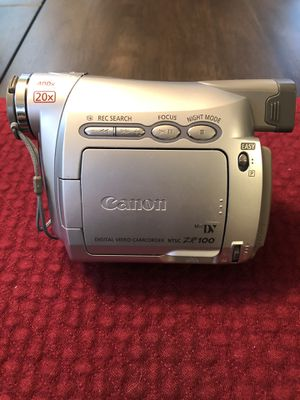 Canon ZR100 MiniDV Camcorder w/20x Optical Zoom (Pearl Silver) (Discontinued by Manufacturer) for Sale in Fredericksburg, VA