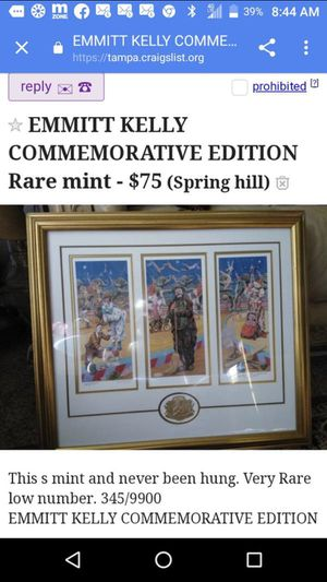 Emmitt Kelly commemorative Edition picture numbered Rare for Sale in Spring Hill, FL