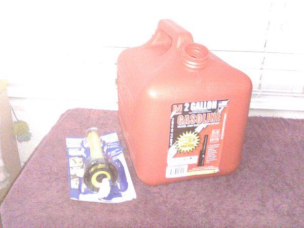 Gasoline gas fuel can 2 gallon quick flow safety spout