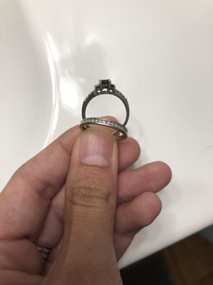 Princess cut black diamond ring and wedding band set Will sell together or separate for Sale in Denver, CO