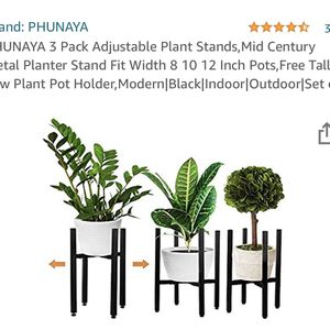 PHUNAYA 3 Pack Adjustable Plant Stands,Mid Century Metal Planter Stand Fit Width 8 10 12 Inch Pots, for Sale in Ontario, CA