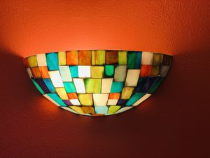 Pair of stained glass wall mount sconce lights for Sale in Seattle, WA