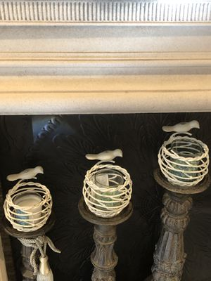 Home interiors/Better Home Bird destresed candleholders for Sale in Dallas, TX