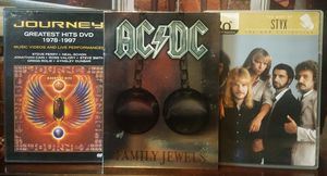 3 Set Rock Music DVD Collection Journey Greatest Hits AC DC Family Jewels The Best of Styx for Sale in Tampa, FL
