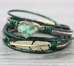 Multilayer Druzy Vintage Feather Charm Bracelet for Sale in Wichita, KS