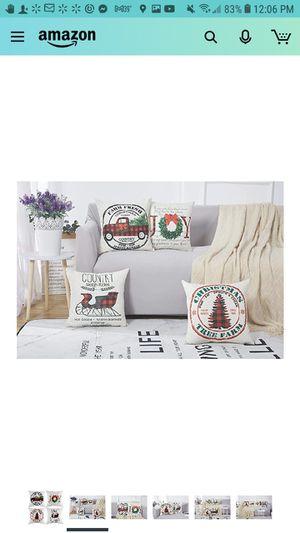Ywlake Christmas Pillow Cover 26x26 Set of 4, Decorative Buffalo Check Plaid Plad Xmas Merry Christmas for Sale in Glendale, AZ