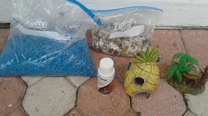 1 pound of more, beauttifull blue and different colors half bottle for chlorine and 2 little cute houses for fish tank for Sale in Miami Gardens, FL