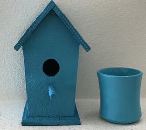 Teal Wooden Bird House and Flower Pot Vase for Sale in Rancho Santa Margarita, CA